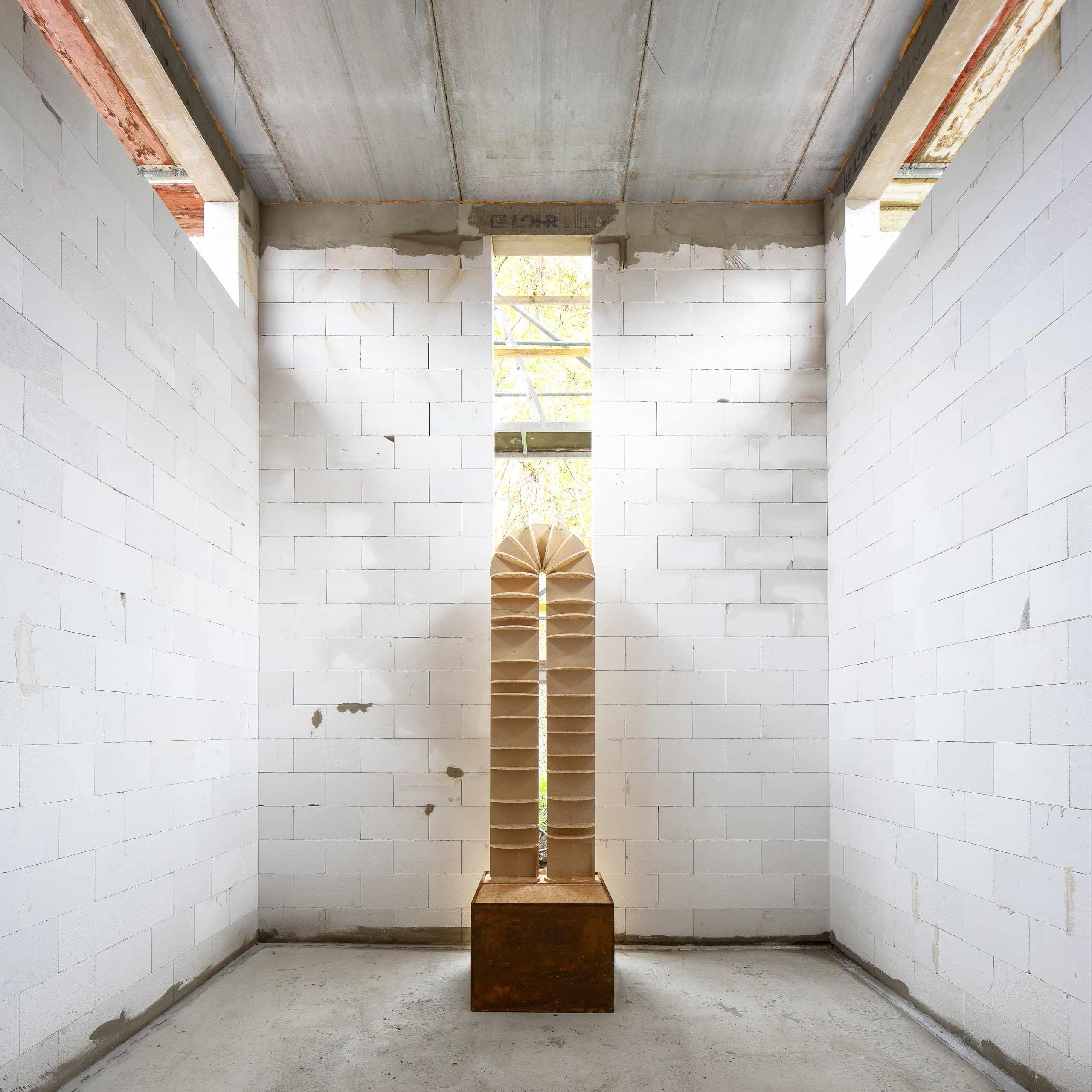"""Raum der Stille - Konturen des Objektes als Modell im künftigen """"Raum der Stille"""""""